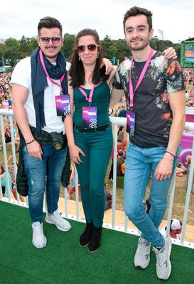 Giorgio Scuteri, Blanca Ruiz and Luke O'Connor at Three's #MadeByMusic base at Longitude. Over the weekend a line-up of top Irish DJ collectives celebrated connections 'Made By Music'.  Picture: Brian McEvoy No Repro fee for one use