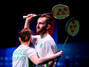 Samuel Magee and Chloe Magee of Ireland congratulate each other following the victory in their Mixed Badminton Doubles quarter-final match against Robin Tabeling and Piek Selena of Netherlands at Falcon Club on Day 8 of the Minsk 2019 2nd European Games. Photo by Seb Daly/Sportsfile