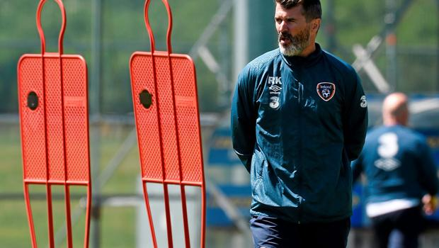 Republic of Ireland assistant manager Roy Keane during squad training in Malahide, Co. Dublin