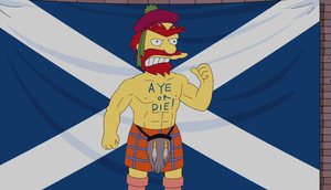 'That's not a tattoo, it's a birthmark!' - Groundkeeper Willie from The Simpsons pledges his support to an independent Scotland