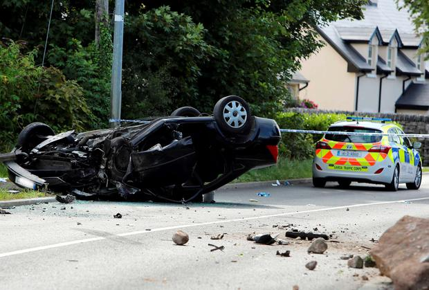 The horrific aftermath of a crash in Co Galway last weekend, where a car overturned and killed mother-of-five Margaret Keady. Picture: Hany Marzouk