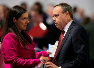 DUP Deputy Leader Nigel Dodds chats with Party Leader Peter Robinson's daughter Rebekah as counting in the General Election gets underway at the kings Hall in Belfast. PRESS ASSOCIATION Photo. Picture date: Thursday May 7, 2015. See PA story ELECTION Main. Photo credit should read: Niall Carson/PA Wire