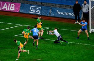 Evan Comerford of Dublin saves a shot from Patrick McBrearty of Donegal during the Allianz Football League Division 1 match at Croke Park in Dublin. Photo: Harry Murphy/Sportsfile