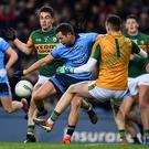 25 January 2020; Dean Rock of Dublin is fouled by Brian Ó Beaglaoich, left, and Shane Ryan of Kerry, resulting in a penalty, during the Allianz Football League Division 1 Round 1 match between Dublin and Kerry at Croke Park in Dublin. Photo by Ben McShane/Sportsfile