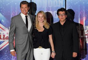 LONDON, ENGLAND - APRIL 13:  Amanda Holden, David Hasselhoff and Michael McIntyre promotes the new 'Britain's Got Talent' series for ITV at May Fair Hotel on April 13, 2011 in London, England.  (Photo by Mike Marsland/WireImage)