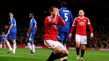 Manchester United's Ander Herrera rues a missed chance on goal