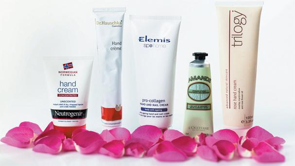 From left: Neutrogena Norwegian Formula Hand Cream Unscented; Dr Hauschka Hand Cream; Elemis Pro-Collagen Hand and Nail Cream; L'Occitane Almond Smooth Hands; Trilogy Rose Hand Cream