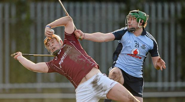 Galway's Paul Killeen in action against Sean McGrath