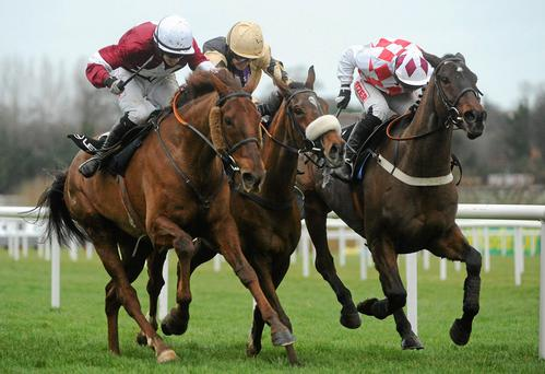 Tidal Bay, centre, gets the better of first Lieutenant, left, and Flemenstar in the Lexus