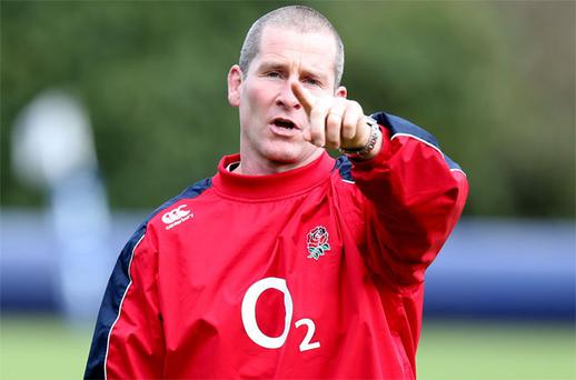 England coach Stuart Lancaster during the training session at Penny Hill Park, Bagshot