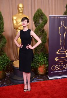 Anne Hathaway was elegant in a black dress from The Row