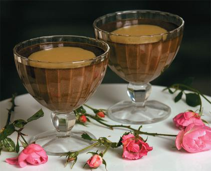 Chocolate mousse, served in a small glass. Photo: Tony Gavin