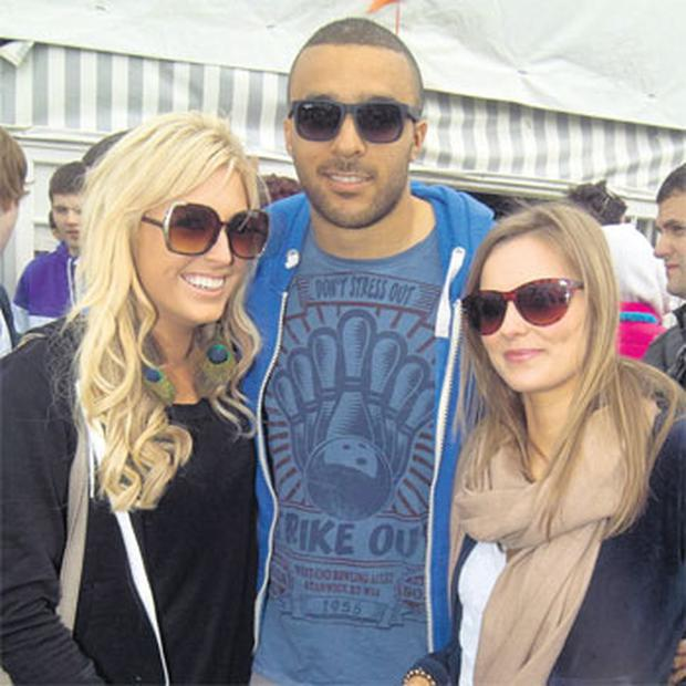 Simon Zebo with Siofra McMahon and Joyce Erlie at the Rugby Sevens in Kinsale last year