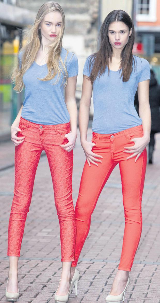 Models Katie and Clara both wear Bleulab reversible jeans and Majestic T-shirts at the launch of the new season collection from BT2.