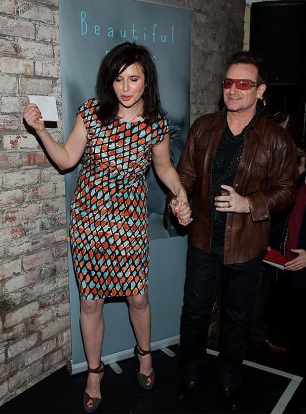 Helen Seymour and U2's Bono at the launch of her debut novel 'Beautiful Noise'