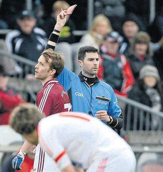 Westmeath's Doran Harte is shown the red card during last weekend's game against Louth – but 18 other players were shown yellow card