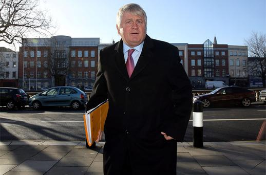 Denis O Brien, arriving at the Four Courts before giving evidence during the opening day of his High Court Libel action for damage