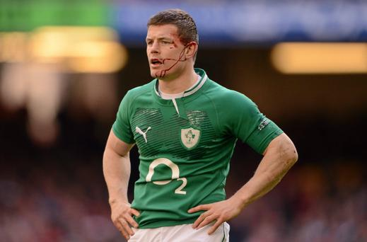 2 February 2013; Brian O'Driscoll, Ireland, picks up an injury to his ear. RBS Six Nations Rugby Championship, Wales v Ireland, Millennium Stadium, Cardiff, Wales. Picture credit: Stephen McCarthy / SPORTSFILE