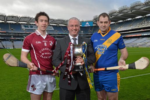 At a photocall in advance of the AIB GAA Hurling and Football Junior and Intermediate Club Championship Finals on Saturday 9th and Sunday 10th February, in Croke Park, is Neil Hosty, AIB Executive, with Intermediate hurling captains, David Langton, Clara, Kilkenny, left, and Aidan Ryan, St. Gabriels, London. Croke Park, Dublin. Picture credit: Brian Lawless / SPORTSFILE