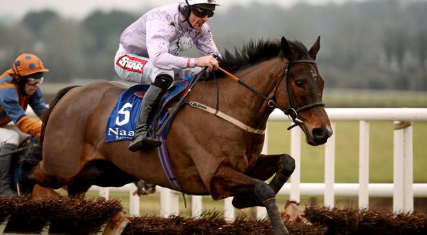 19 January 2013; Solwhit, with Davy Russell up, on their way to winning the Limestone Lad Hurdle. Naas Racecourse, Naas, Co. Kildare. Picture credit: Paul Mohan / SPORTSFILE