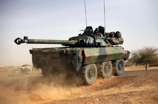 A French tank in northern Mali