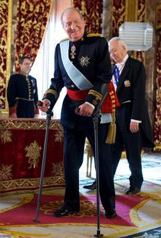 King Juan Carlos of Spain receiving new ambassadors at the Royal Palace in Madrid, Spain.
