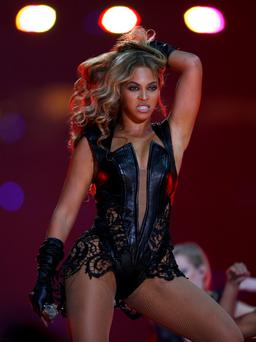 Beyonce performs during the half-time show of the NFL Super Bowl XLVII football game in New Orleans.