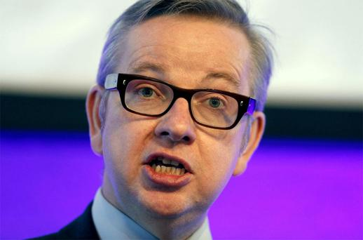 British Education Secretary Michael Gove who has been forced to abandon his flagship plan to scrap GCSEs and replace them with a new English Baccalaureate.