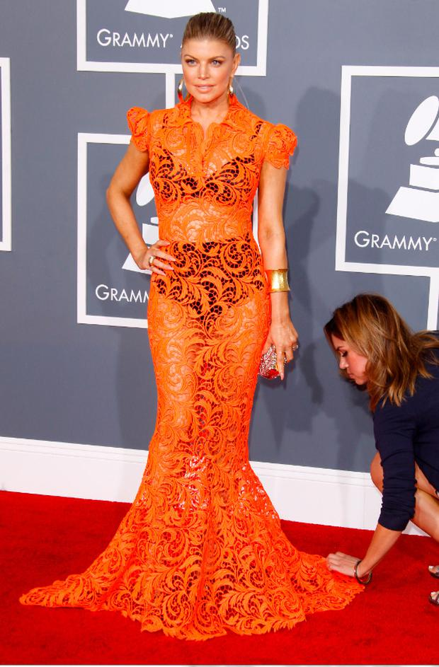 Fergie on the red carpet at the Grammys last year