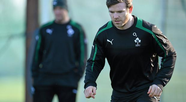Gordon D'Arcy in action during squad training at Carton House.