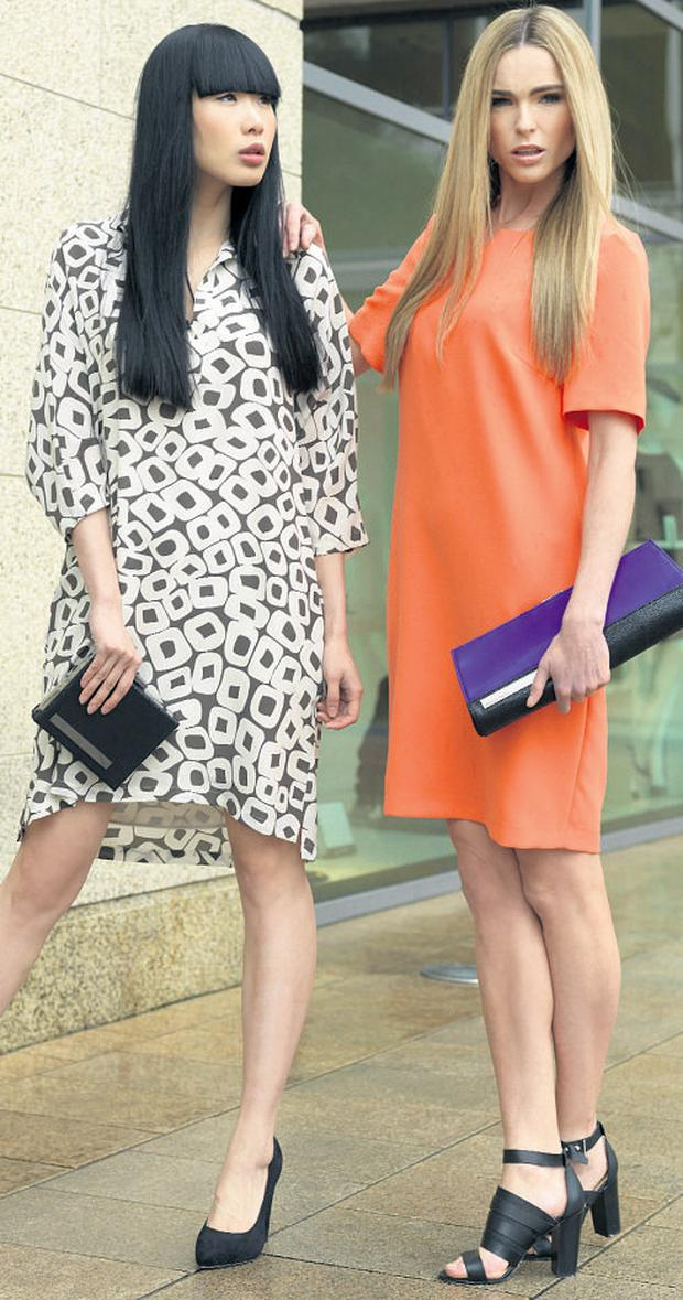 Yomiko and Sarah at the spring/summer 13 womenswear launch at House of Fraser, Dundrum, wearing pieces from the collection by Mary Portas.