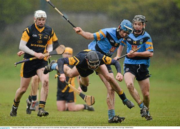 DCU's Willie Lowry falls to the ground under pressure from Garry Synott of UCD during their Fitzgibbon Cup clash