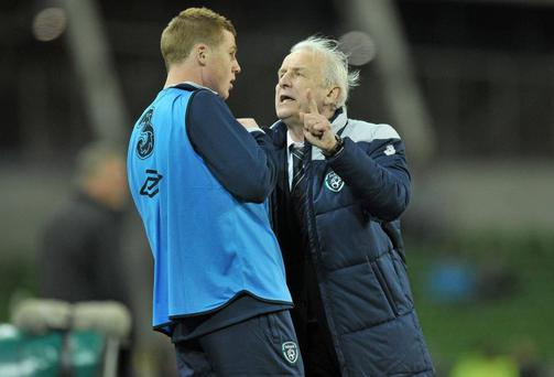 JAMES MCCARTHY: McCarthy's international career looked like it would never take off under Trap with the player's unavailability for certain internationals made worse by public lashings from the boss, especially when the Glaswegian did not reply to a text message from an FAI staff member in the summer of 2011. After the debacle of Euro 2012, McCarthy has lined out repeatedly at central midfield and is a guaranteed starter now.