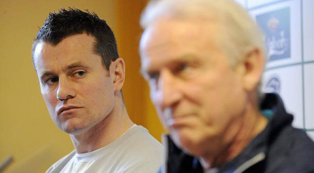 Giovanni Trapattoni and Shay Given during a Republic of Ireland press conference last year