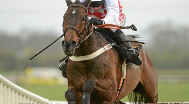 8 April 2012; Flemenstar, with Andrew Lynch up, jumps the last on the way to winning the Powers Gold Cup. Fairyhouse Racecourse, Co. Meath