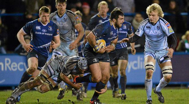 Leinster's Jamie Hagan is tackled by Michael Paterson, left, and Josh Navidi, Cardiff Blues. SPORTSFILE