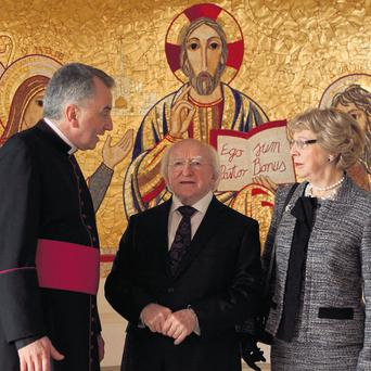 President Michael D Higgins and his wife, Sabina, meet Monsignor Ciaran O'Carroll, Rector of the Pontifical Irish College in Rome.