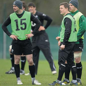 Rob Kearney, Brian O'Driscoll and Sean O'Brien take a break from training at Carton House yesterday