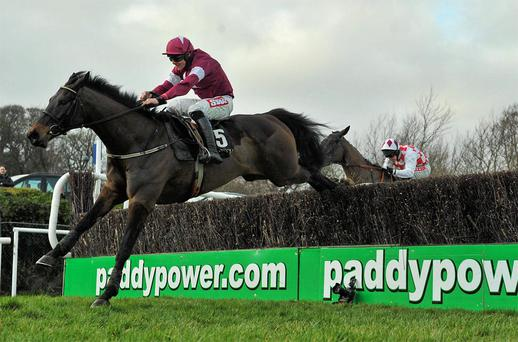 Sir Des Champs, and Davy Russell lead Flemenstar and Andrew Lynch over the last at Leopardstown. Photo: Brendan Moran