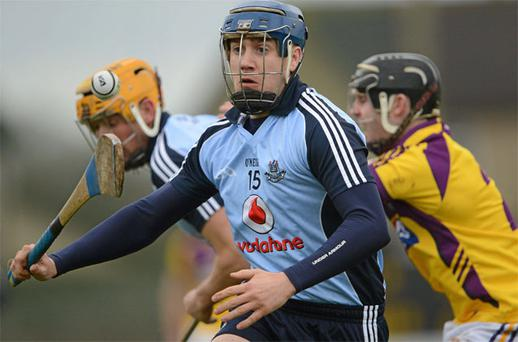 Paul Ryan has his eyes firmly on the ball as he sets up a Dublin attack against Wexford in Bellefield