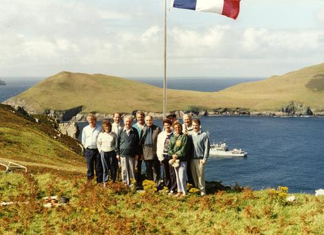 French President Francois Mitterrand with Charles and Maureen Haughey and other members of the Haughey family during his 1988 visit to Inishvickillane