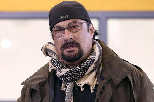 Actor Steven Seagal addresses the media about a simulated school shooting in Fountain Hills