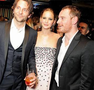 Bradley Cooper, Jennifer Lawrence and Michael Fassbender at the BAFTA after-party