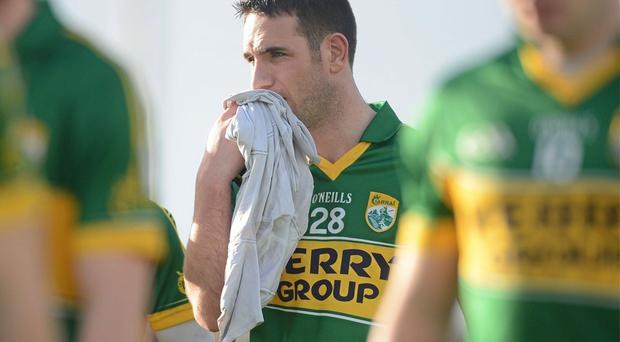 Kerry's Declan O'Sullivan leaves the pitch deflated after the league defeat to Dublin in Killarney