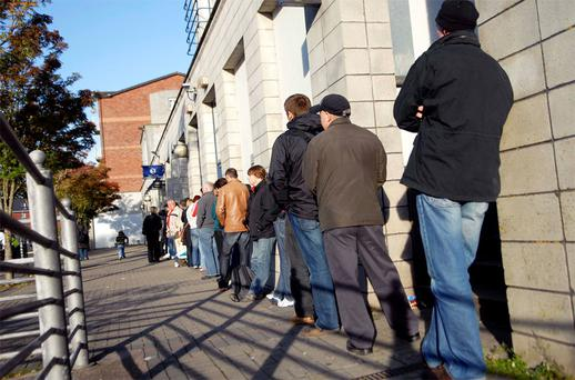 A queue at the dole office in Cork city. There are more than 200,000 people unemployed for over a year