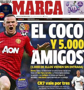 Madrid-based newspaper Marca's front page featuring Wayne Rooney