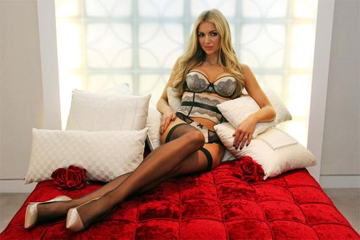 Rosanna Davison wearing Valentine's lingerie by Chantelle, at Brown Thomas department store in Dublin