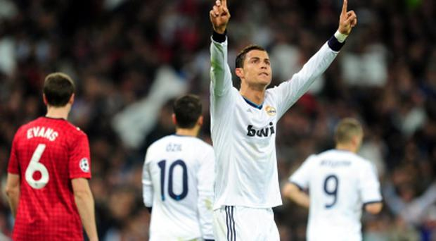 Real Madrid's Cristiano Ronaldo celebrates scoring Real's equaliser