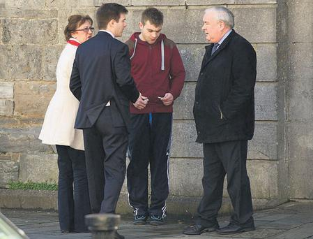Kevin Hastings (centre in red top) outside Westport Court House in Westport, Co Mayo.