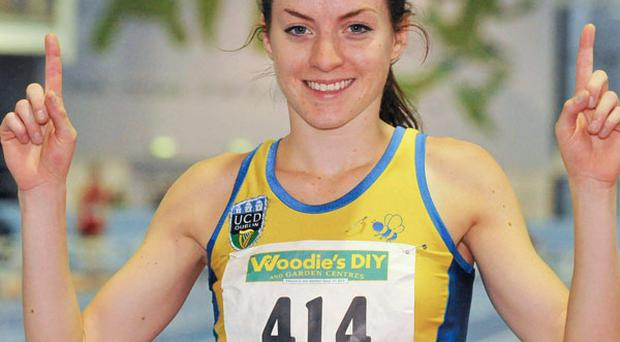 Ciara Everard, UCD A.C., Dublin, after winning the Senior women's 800m event, with a time of 2.02.54 which qualifies her to compete at the 2013 European Athletics Indoor Championship in Paris.
